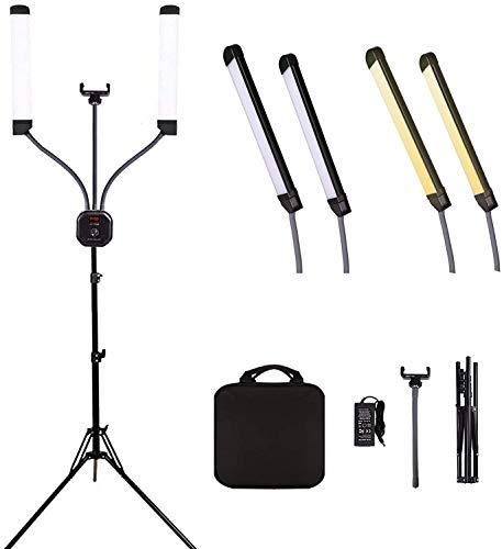 GSKAIWEN - Set di luci video a LED dimmerabili, 50 W, con treppiede e borsa per il trasporto, per trucchi, ciglia, sopracciglia, tatuaggi, 3200-5600 K, CRI 90+