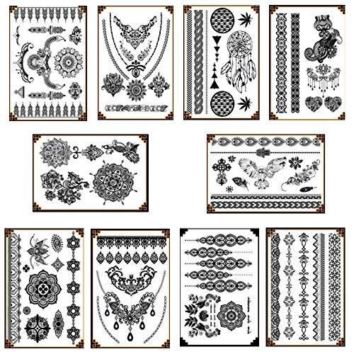 Gsyamh Adesivi per Tatuaggi Temporanei Neri Unici Tatuaggi Temporanei Sexy Realistici a Braccio Adesivi per Tatuaggi Animali Neri da Uomo Body Art Stickers per Bambini Adulti Donna Uomo(10 Pezzi)
