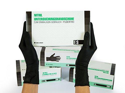 Guanti in Nitrile, 200 pezzi scatole (S, Nero), guanti da visita monouso, senza polvere, guanti per la pulizia, cucina sanitaria, pulizia della cucina, senza lattice, pulizia sicurezza manipolazione d