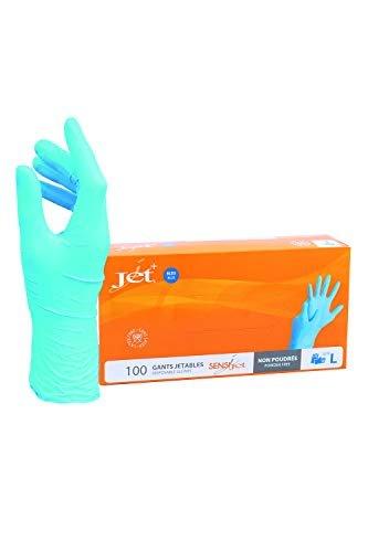 Guanti in vinile multiuso Jet +, senza polvere, monouso, extra resistenti - Scatola da 100 - Taglia L.
