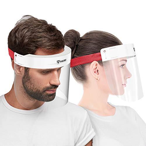 HARD 1x Pro visor Visiera protettiva, Certificato medico, Schermo facciale di sicurezza Antinebbia Face Shield, Prodotto in Germania, Adulti - Bianco/Rosso