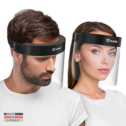 HARD 1x Pro visor Visiera protettiva, Certificato medico, Schermo facciale di sicurezza Antinebbia Face Shield, Prodotto in Germania, Adulti - Nero/Nero