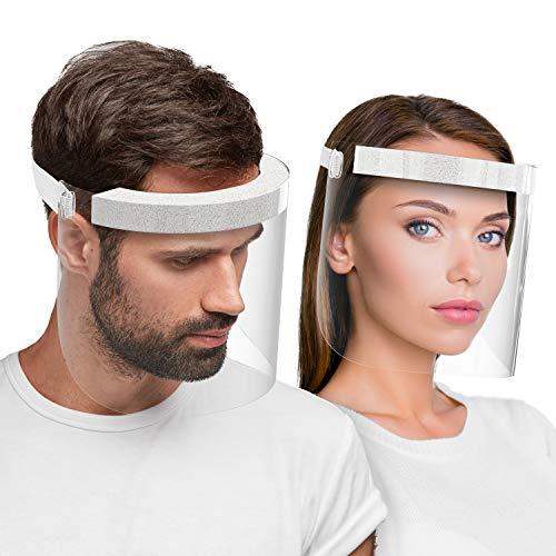 Hard 2 x Visiera protettiva per il viso, certificato medico Face Shield Antinebbia protezione da liquidi Prodotto in Germania, per Adulti - Bianco