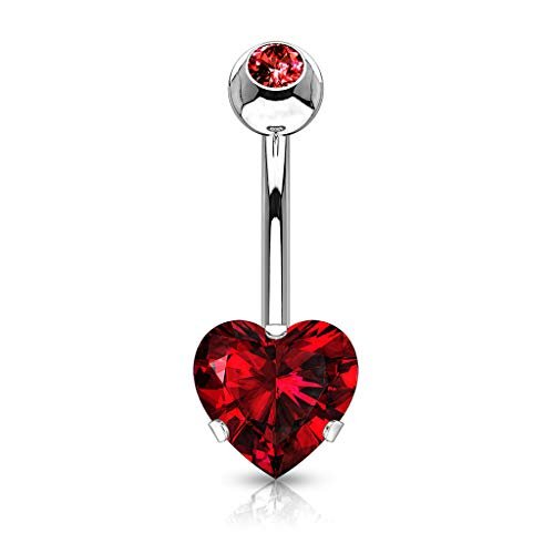 HBJ Unisex Bananabell Piercing All'Ombelico Cuore Acciaio Inossidabile Zirconia Rosso 1.6mm x 10mm NS06-R