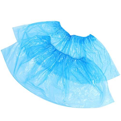Holibanna 100pcs Plastica usa e getta Copriscarpe Monouso Copriscarpe Cleaning Overshoes per La Giornata di Pioggia per Ufficio a Casa (Blu)