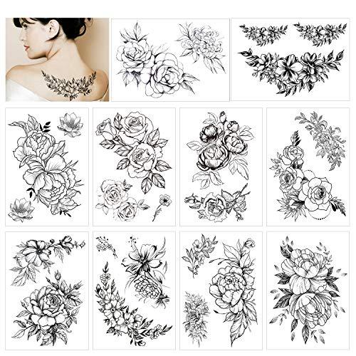 HOWAF 10 fogli grande realistico rosa peonia fiore tatuaggi temporanei adesivi adulti donne impermeabile tatuaggio nero fiore ragazze tatuaggi finti grande braccio tatto spalla sexy seno