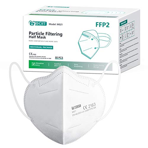 IDOIT Mascherine FFP2 50 PCS Certificate CE Semimaschera filtrante 5 Strati mascherine monouso sigillate singolarmente