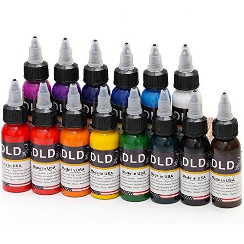 Inchiostro del tatuaggio permanente 14Pcs 14 colori Inchiostro del tatuaggio Microblading Set 1 Oz 30ml / bottiglia Inchiostri del tatuaggio Kit pigmento per tatuaggio e Body Paint Art