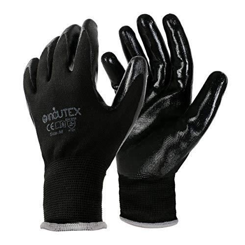 Incutex 12 paia guanti da lavoro guanti da montaggio guanti meccanico guanti costruzione con rivestimento in nitrile, taglia 8 M
