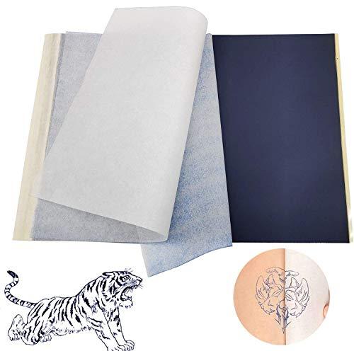 INHEMI 50 Pezzi Tatuaggio Termica Stencil Paper Transfer Paper Tracing Paper A4 per Stampante Laser per Tatuaggi Temporanei Trasferibili Fai