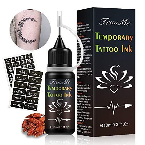 Ink Tattoo, Temporary Tattoo Ink, Tatuaggi Temporanei, Jagua Gel, kit tatuaggi temporanei, Jagua Fruit Gel/Ink con stencil per tatuaggi di design speciale