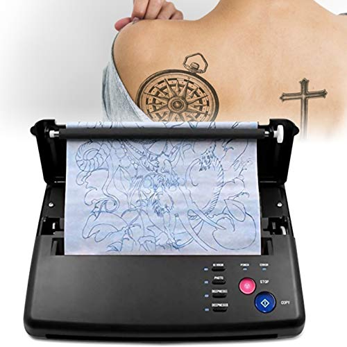 InLoveArts Tattoo Transfer Machine, Tatuaggio Trasferimento Machine, Stampante Tattoo Stencil Machine con 10 pezzi di carta transfer termica per tatuaggi e 500 modelli digitali