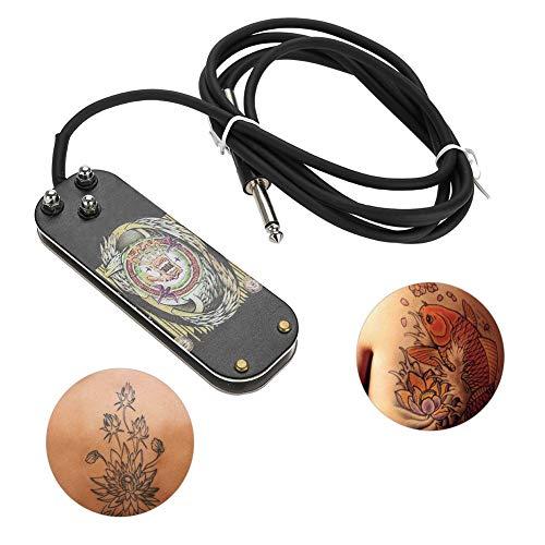 Interruttore a pedale per tatuaggio professionale, in acciaio inox Addensato per pedale tattoo per alimentatore + pedale Interruttore per alimentazione elettrica - Pedale per tatuaggio antiscivolo per