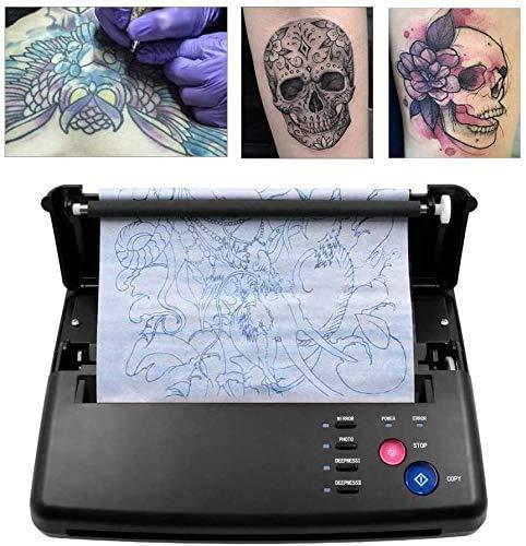Kacsoo Tatuaggio trasferimento fotocopiatrice macchina stampante termica con 10 pezzi di carta a trasferimento termico per la stampa di carta da stampa per trasferimento di tatuaggi e carta termica