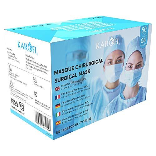 KAROFI - Mascherine Chirurgiche TIPO IIR (II R, 2R) MEDICO, 4 STRATI, BFE > 99%, testate e approvate, certificate CE EN14683 : 2019, pacco da 50