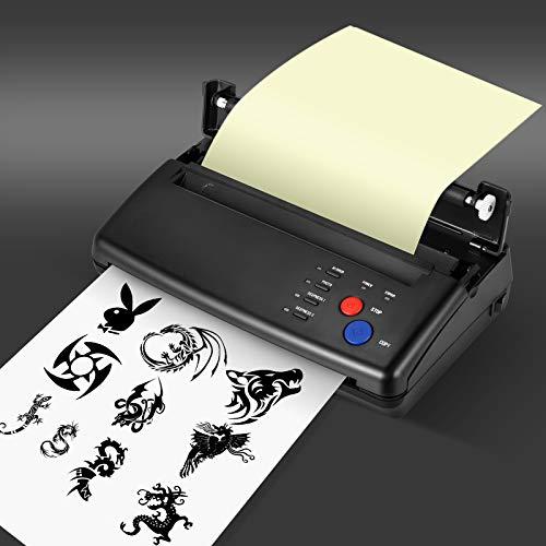 KKTECT Tattoo Transfer Machine Stampante termica Macchina fotocopiatrice professionale per tatuaggi Stampante di manoscritti di pattern 10 pezzi di carta a trasferimento termico Con scatola