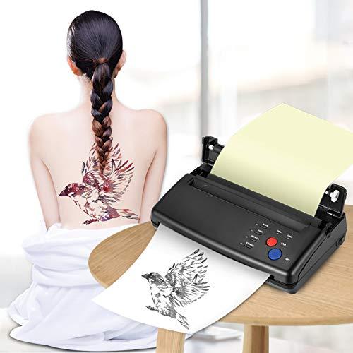 KKTECT Tattoo Transfer Machine - Stampante Termica Stampante Termica Per Tatuaggio Stampante Copiatrice Con 10 Pezzi Di Carta a Trasferimento Termico e 500 Modelli Digitali