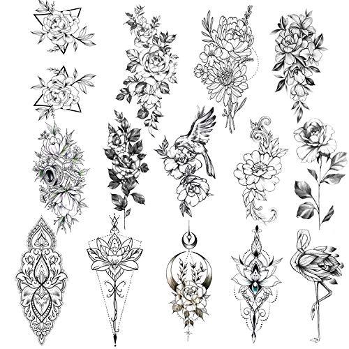 Konsait 12 Fogli fiore Tatuaggio Temporaneo, impermeabile nero tatuaggi Tattoo Adesivi Tatuaggi Temporanei per adulti Donne