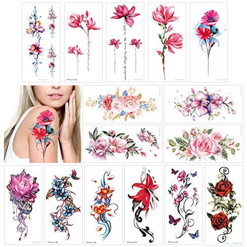 Konsait 15 fogli fiore tatuaggi temporanei per donne, impermeabile tatuaggio temporaneo Tattoo Adesivi per adulti Donne Ragazze Braccia Gambe spalle (Giglio, Pesca, Prugna, Peonia)