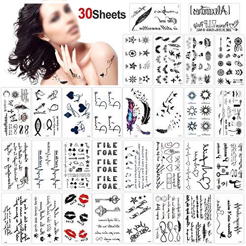 Konsait 30 fogli finti tatuaggi temporanei neri impermeabile Tatuaggio Temporaneo Tattoo Sticker per adulti uomo donna bambini