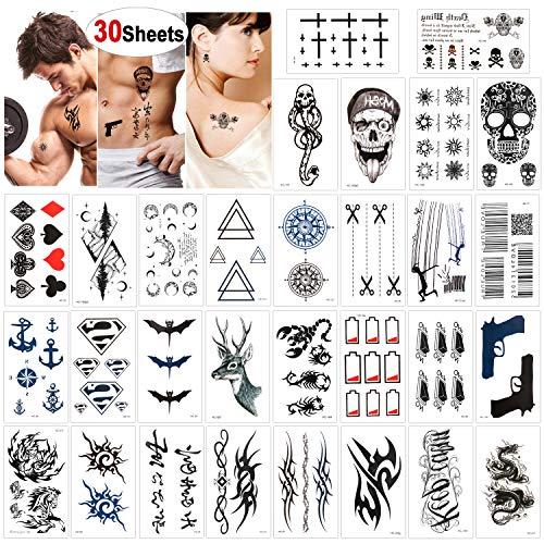 Konsait 30 fogli finti tatuaggi temporanei neri impermeabile Tatuaggio Temporaneo adesivi corpo per adulti uomo donna, drago leone teschio