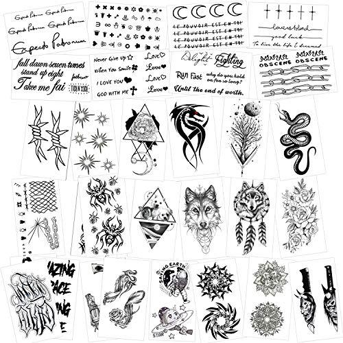 Konsait 30 Fogli Tatuaggi Temporanei Adulti Donne Uomo Bambini, Impermeabili Tatuaggio Temporaneo Nero tatuaggio adesivi