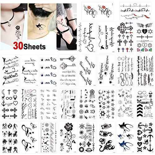 Konsait 30 Fogli Tatuaggi Temporanei per Adulti Donne Uomo Bambini, Impermeabili Tatuaggio Temporaneo Nero tatuaggio adesivi