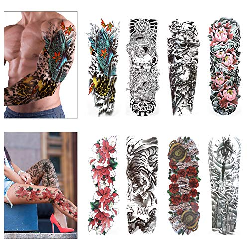 Konsait Grande tatuaggi temporanei, Tatuaggio Temporaneo tattoo Sleeve Adesivi Temporanei Rimovibili Tatuaggi adesivi corpo per adulti uomo donne (8 fogli)