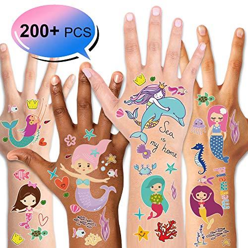 Konsait Sirena Tatuaggi temporanei per Bambini, Impermeabile Tatuaggio Tattoos Adesivi Compleanno Gadget per Bambini Ragazza Sirena Festa di Compleanno Regalo Giocattolo, 14 Fogli