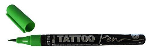 Kreul 62103 - Penna per tatuaggi verde, tratto 0,5 - 3 mm, inchiostro cosmetico a base d'acqua, dura fino a 5 giorni, dermatologicamente testato, vegano, senza parabeni