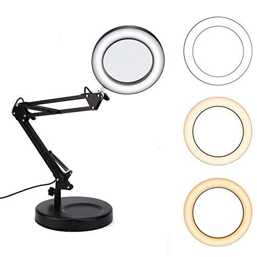 Lampada da tavolo USB con lente d'ingrandimento da tatuaggio Lampada pieghevole con lente d'ingrandimento 5X Lampada da tavolo con base flessibile Lampada da tavolo con lente d'ingrandimento e lampada