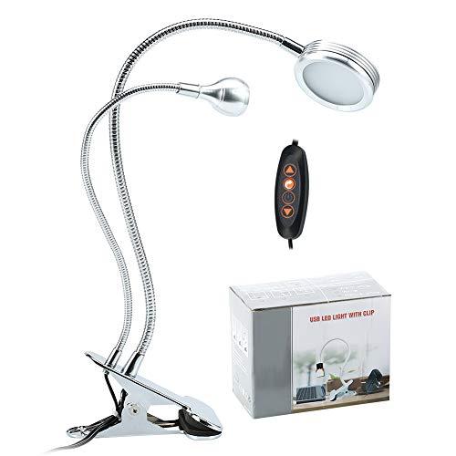 Lampada di bellezza 2 in 1 con lente di ingrandimento, lampada da scrivania USB con luce calda e clip per sopracciglia per tatuaggio e manicure ed estensione di ciglia e lettura