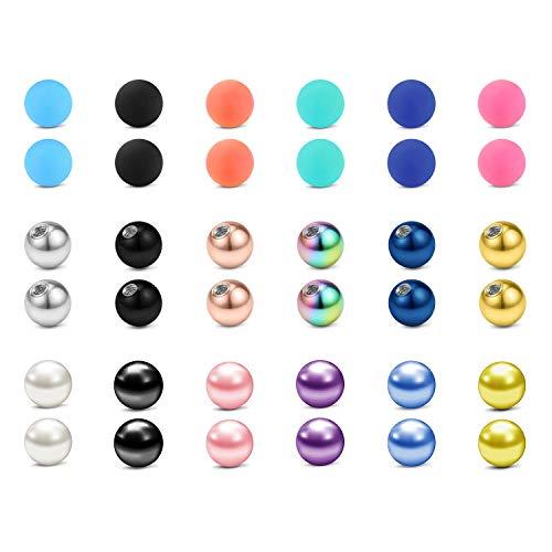 LAURITAMI 36pcs Piercing Palline di Ricambio 16G 3mm Acciaio Chirurgico e Acrilico Labret Ring Balls Barbell Bilanciere Gioielli per Il Corpo