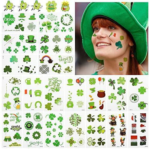 LEMESO 20 pz Adesivi Bambini Tatuaggi Temporanei Adulti per Bambini Kit Tatuaggio Trifoglio Verde Decorazione Festa di San Patrizio Irlanda Impermeabile per il Corpo Faccia Braccia Party