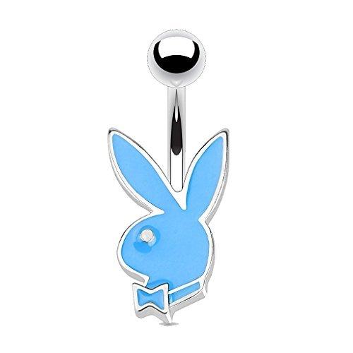 Les Plaisirs de Stella Piercing per ombelico in acciaio chirurgico e smalto – coniglio Playboy – blu