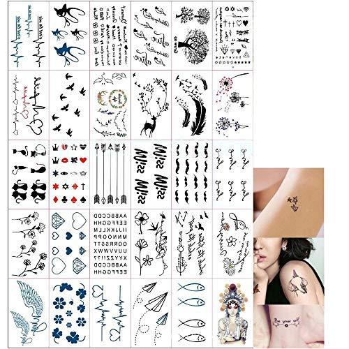 Limeo, Tatuaggi adesivi per adulti, tatuaggi temporanei impermeabili, 30 modelli diversi