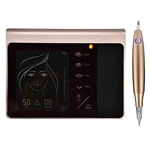 Macchina del tatuaggio elettrico digitale con penna per tatuaggi, Miroblading per trucco semipermanente, con pannello touch screen, per eyeliner e labbra e sopracciglia(01)