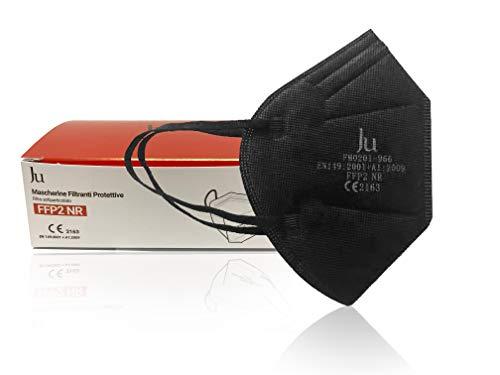 Mascherina FFP2 NR - Mascherine Filtranti Protettive - Maschera Certificate CE ad alta protezione - Pacco da 10 pezzi - NERA - JU