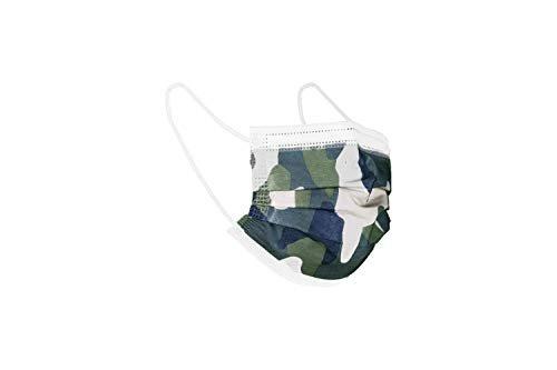 Mascherine chirurgiche da bambino - 100 mascherine da bambino confezionate in pacchetti da 10 (Mimetico Verde)