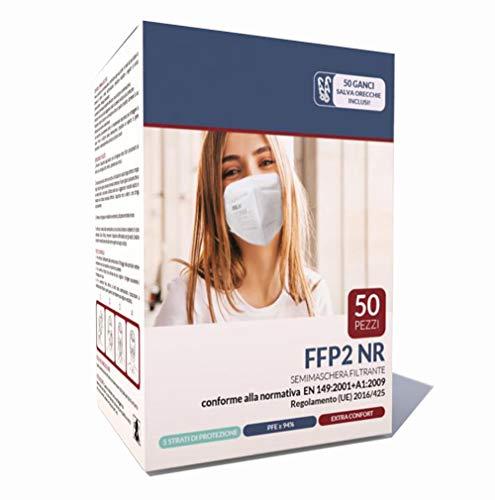 Mascherine FFP2 50 Pezzi Certificate CE 0598 EN 149:2001 + A1:2009 con 50 Ganci Salva Orecchie 5 Strati di protezione PFE ≥ 94%