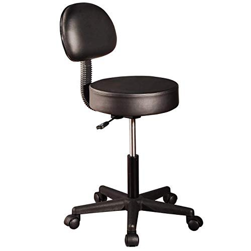 Master Massage Round Stool with backrest Swivel Rolling Height Adjustable Sedie & Sgabelli, Nero