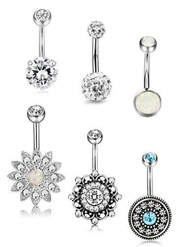 Milacolato 6 pezzi 14G anelli dell'ombelico dell'acciaio inossidabile per le donne Ragazze anelli dell'ombelico CZ creato gioielli piercing opale