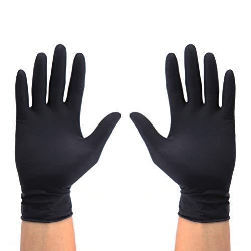 Minkissy - Guanti in lattice riutilizzabili per la pulizia dei capelli, misura media, colore: nero