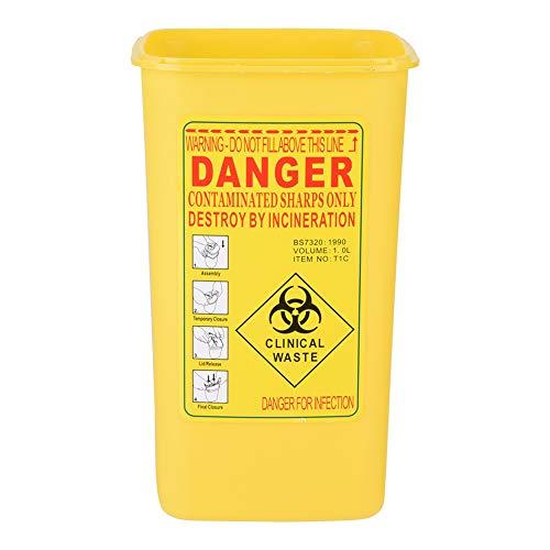 Nikou Scomparto per Taglienti - Smaltimento ago Biohazard, Contenitore per dispositivi Medici Taglienti in plastica per Tatuaggi, Scatola per rifiuti da 1 litro (Colore : Yellow)