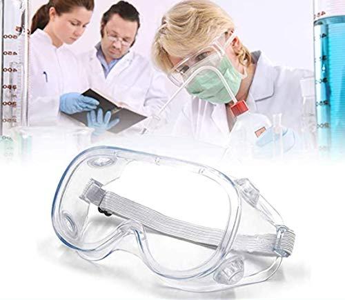 Occhiali di Sicurezza Trasparenti Regolabili Occhiali Protettivi Resistenti AntiGraffio Agli Schizzi e Anti-Appannamento Antivirus Occhiali Protettivi Professionali