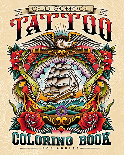 Old School Tattoo Coloring Book for Adults
