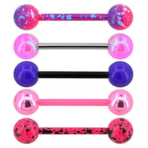 OUFER - Piercing per lingua, in acciaio INOX 316L, colore: rosa, viola, acrilico, 5 pezzi