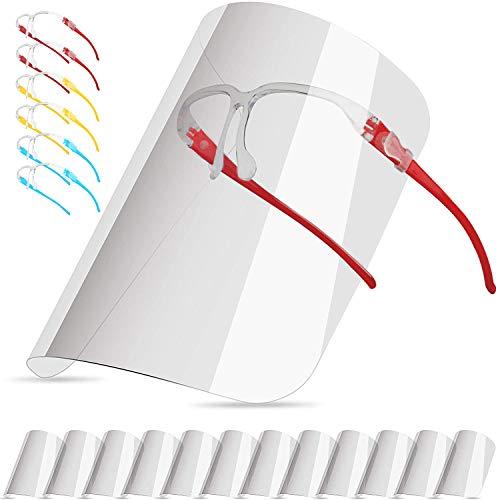 Pezzi di Visiera Trasparente Antiappannamento Anti Olio a Prova di Schizzi di Sicurezza Occhiali,Face_Shield_Visiere (Con 12 visiere e 6 Colore montature per occhiali) (Colore)