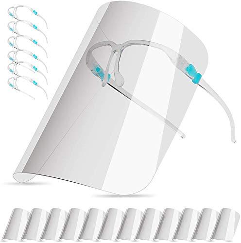 Pezzi di Visiera Trasparente Antiappannamento Anti Olio a Prova di Schizzi di Sicurezza Occhiali,Face_Shield_Visiere (Con 12 visiere e 6 Colore montature per occhiali)