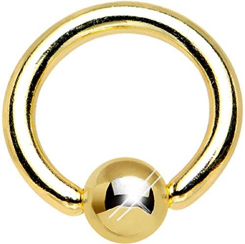 PiercedOff, piercing ad anello con pallina, in acciaio chirurgico, placcato in oro, 1 mm (1 mm x 8 mm)